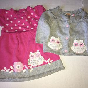 Gymboree Bright Owl Dress Set 6-12 months